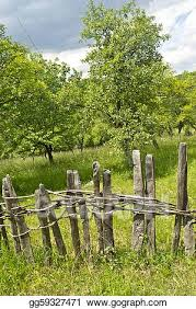 Stock Illustration Old Wooden Fence In Village Clipart Drawing Gg59327471 Gograph