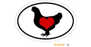 Amazon Com Wickedgoodz Oval Vinyl Heart Chicken Sticker Poultry Vinyl Decal Chicken Gift Automotive