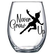 Amazon Com Never Grow Up Peter Pan Flying Decal Only Vinyl Sticker For Wine Glass Mug Or Cup Baby