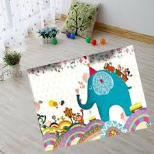 1pc Velvet Super Soft Play Mat Carpet Party Elephant Friends Foam Rug Baby Kids Toddler Boys