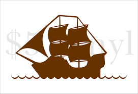 Pirate Ship Vinyl Xs Small Wall Art Car Decal Sticker Etsy Ship Silhouette Pirate Ship Free Clip Art