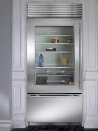 sub zero glass front refrigerator