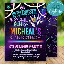 Editable Permite Strike Up Some Fun Bowling Invitaciones De