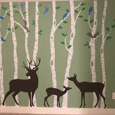 Birch Tree Wall Art Decal Forest Woodland Birds Deer Family Etsy In 2020 Tree Wall Art Forest Mural Animal Mural