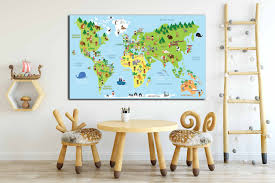 Kids Map With Cultural Differences Kids Map Kids Room Decor Kids Room Art Nursery Room Wall Decor Baby Room Art Kids Wall Art