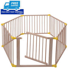 Baby Baby Playpen 6 Panel Foldable Wooden Frame Kids Safety Play Fence In Outdoor Playpens Play Yards Hypewell Com