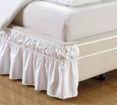 style white ruffled solid bed skirt