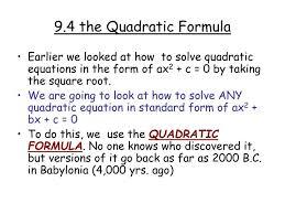 ppt 9 4 the quadratic formula