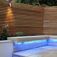 Beautiful Modern Contemporary Garden Fence Using Western Red Cedar And Downlighting Great Cont Modern Garden Design Modern Garden Lighting Contemporary Garden
