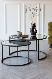 set of 2 black mirrored side tables