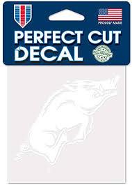 Amazon Com Wincraft Ncaa Arkansas Razorbacks 4x4 Perfect Cut White Decal One Size Team Color Sports Outdoors