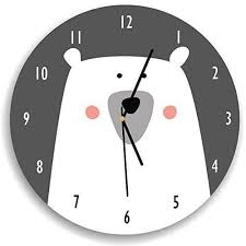 Amazon Com Kid O Design Studio Polar Bear Wall Clock Decorative Kids Room Clock Battery Operated Wall Clocks Gar And White 10 62 Inches Handmade