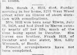 Sarah Adeline Hill Death - Newspapers.com