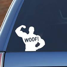 Amazon Com Signage Cafe Woof Muscle Men Decal Gay Pride Lgbt Vinyl Decal Sticker Automotive