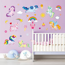Amazon Com Decalmile Rainbow Unicorn Wall Decals Kids Room Wall Stickers Baby Nursery Girls Bedroom Wall Decor Kitchen Dining
