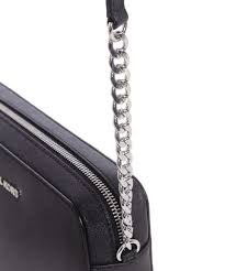 black cross bag with silver hardware
