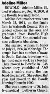 Obituary for Adeline Miller, 1911-2000 (Aged 89) - Newspapers.com