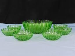 vintage green swirl depression glass