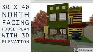 30 x 40 north facing house plan with 3d