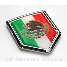 Mexico Flag Crest Mexican Emblem Chrome Car Decal Sticker