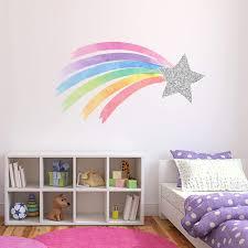 Amazon Com Shooting Star Rainbow Wall Decal Pastel Watercolor Unicorn Nursery Girls Bedroom Decor Silver Star Rainbow Wall Decor Nd04 32 W X 18 H Inches Arts Crafts Sewing