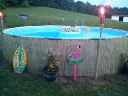 Our Intex Pro Series 14 Pool Dressed Up With Bamboo Reed Fencing From Home Depot I Love The Tropica Above Ground Pool Landscaping In Ground Pools Garden Pool