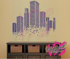 Contemporary City Building Wall Decal Cityscape Wall Decal Etsy