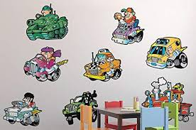 Amazon Com Wallmonkeys More Wacky Race Car Wall Decal Sticker Set Individual Peel And Stick Graphic For Boys 48 In W X 32 In H Wm55038 Home Kitchen