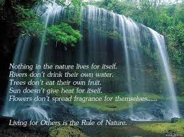 nature lives for others quotes falls water unselfishness love