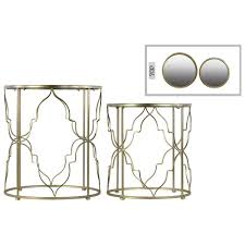 metallic gold nesting accent table