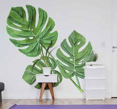 Monstera Watercolour Leaves Plant Wall Sticker Tenstickers