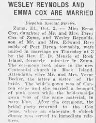 Irma Cox and Wesley Reynolds wed. Pt. 1 - Newspapers.com