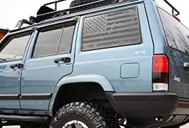 Amazon Com Skull Daddy Graphics Xj Window Usa Distressed Flag Decals Stickers To Fit Jeep Cherokee 1987 2001 Both Sides Matte Black Automotive