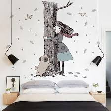 hold the tree girl dog wall stickers