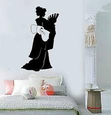 Vinyl Wall Decal Geisha Asian Woman Silhouette Oriental Stickers Ig3812 Ebay