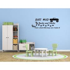 Wall Decal Quote Dirt Mud Bucks And Trucks That S What Little Boys Are Gd28 Walmart Com Walmart Com