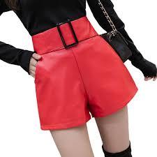 2019 korean pu faux leather shorts