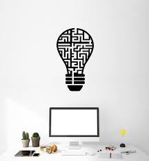 Vinyl Wall Decal Lamp Bulb Maze Idea Light Game Office Interior Sticke Wallstickers4you