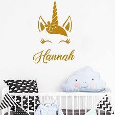 Personalised Custom Name Vinyl Wall Decal Beautiful Flower Crown Unicorn Eyelash Stickers Baby Girls Bedroom Nursery Decor Eb636 Aliexpress