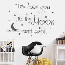 Art Lovely Baby Nursery Wall Decal Quote We Love You To The Moon And Back Wall Decals Moon Sticker Home Decor Modern Mural La757 Nursery Wall Decal Stickers Home Decormoon Sticker Aliexpress