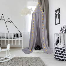 Amazon Com Ceekii Canopy For Girls Bed Round Dome Hook Chiffon Mosquito Net Canopy Kids Bedroom Games Reading Tent Nursery Play Room Decor Light Gray Baby