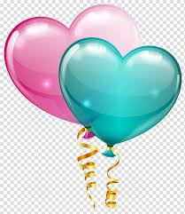 balloon pink and blue heart balloons