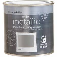 wilko silver metallic wood and metal