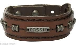 fossil metal pvd leather bracelet