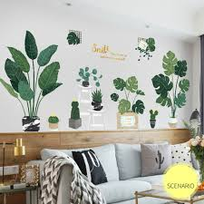 leaf wall stickerstv sofa bedroom plant
