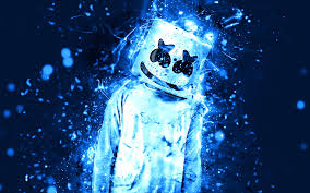 تحميل خلفيات Marshmello 4k النيون الأزرق أمريكا دي جي النجوم