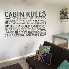 Amazon Com Cabin Rules Vinyl Wall Decal By Wild Eyes Signs Cottage Beach House Lake House Camping Fish Deer Relax Grateful Wall Lettering Art Vinyl Sticker Hh2060 Handmade