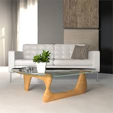 triangle wooden glass top coffee table