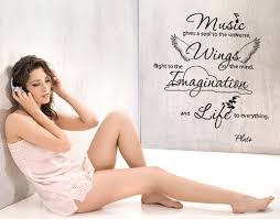 Music Gives A Soul To The Universe Wings To The Mind Flight To The Imagination And Life To Everything Wall Decal Music Wall Sticker Quote 4136 Brown 39in X