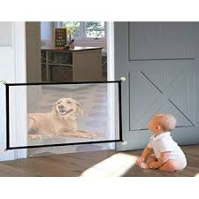 Opqet Magic Gate Pet Gate For Dog Doors With 8 Sticky Hooks Safety Kid Fence Black 43x29